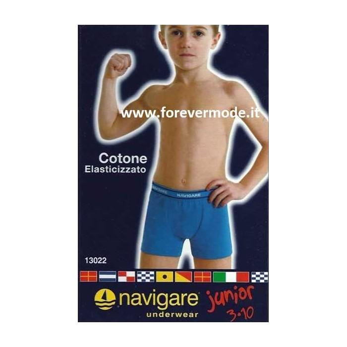 6 Boxer bambino Navigare in cotone con elastico esterno loggato