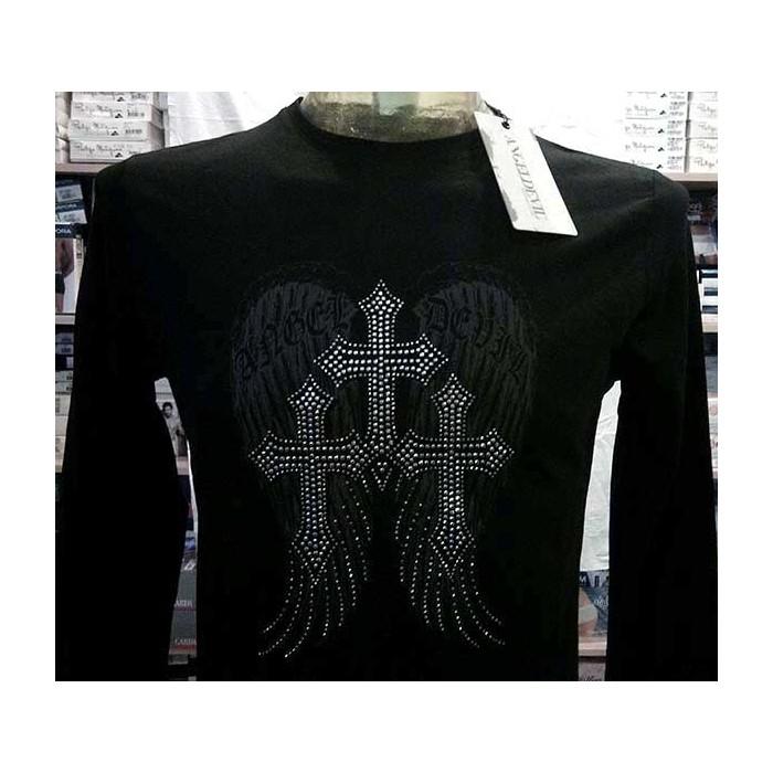 T-shirt uomo Angel Devil manica lunga a girocollo in cotone con stampa, borchiette e logo