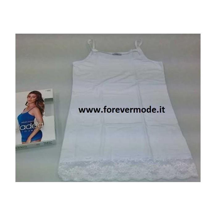 4327 JADEA Canotta Top Donna Spalla Stretta con Pizzo in Cotone Elasticizzato Art