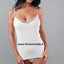 Canottiera donna FDB a spalla stretta in cotone con profilo in macramè