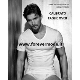 T-shirt uomo Enrico Coveri manica corta con scollo V in cotone Extra Large