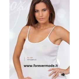 Canottiera donna Egi a spalla stretta in filo di scozia con profili in raso