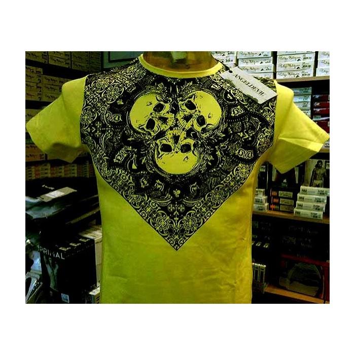 T-shirt uomo Angel Devil manica corta a girocollo in cotone con stampa teschi e logo