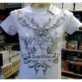 T-shirt maglia uomo Angel Devil con stampa argentata e borchie