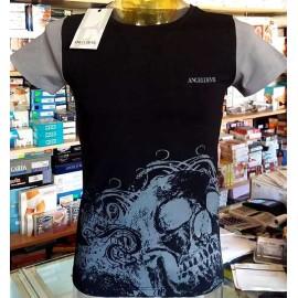 T-shirt uomo Angel Devil manica corta a girocollo in cotone con logo e stampa teschio