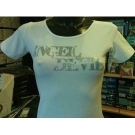 T-shirt donna Angel Devil manica corta a girocollo con logo argentato e strass
