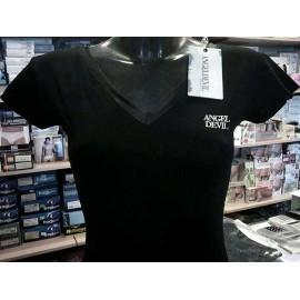 T-shirt donna Angel Devil manica corta scollo V fronte retro in cotone con stampa logo