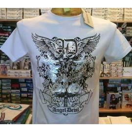 T-shirt uomo Angel Devil manica corta a girocollo con stampa argentata e borchie