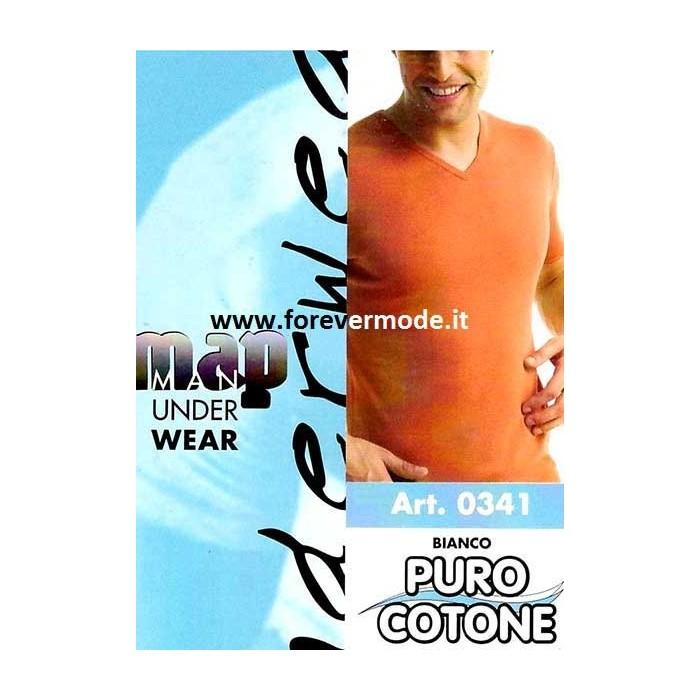 T-shirt uomo Map manica corta in puro cotone liscio con scollo a V