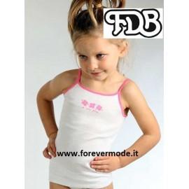 Canottiera bambina FDB a spalla stretta in cotone con bordo colorato e stampa