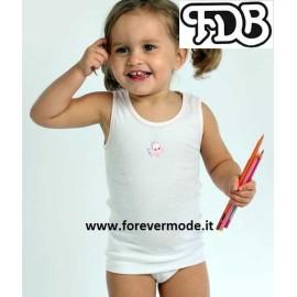 Canotta bambina FDB spalla larga in cotone con profilo e stampa