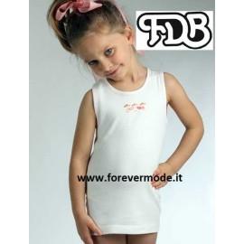 Canottiera bambina FDB a spalla larga in caldo cotone con stampa