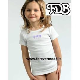 Maglia bambina FDB manica corta in cotone con profilo colorato e stampa
