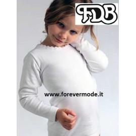 Maglia bambina FDB manica lunga a girocollo in caldo cotone con stampa