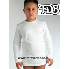 Maglia bambino FDB manica lunga a girocollo in caldo jersey di cotone