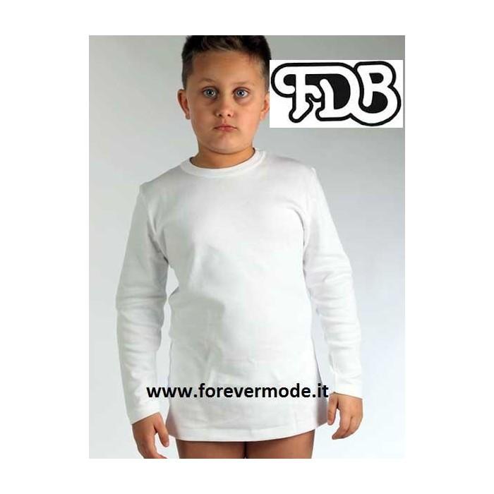 Maglia bambino FDB manica lunga a girocollo in caldo jersey di cotone 04cdb459094