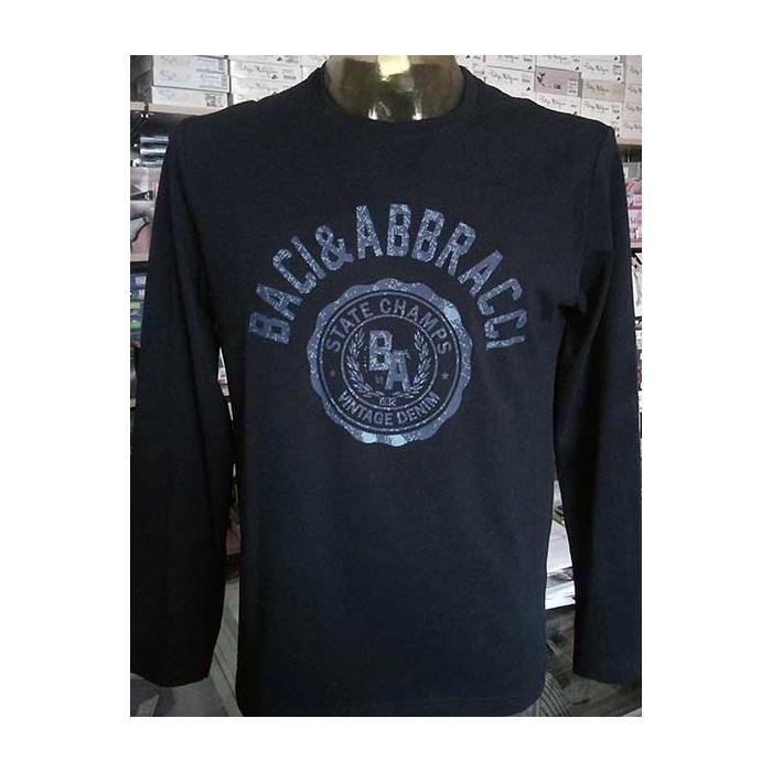 low priced d6c93 2bcc4 T-shirt uomo Baci & Abbracci manica lunga a girocollo in cotone con stampa  logo