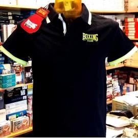 Polo uomo Boxing con logo ricamato stampa sul collo profili fluo