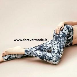 Leggings donna Matignon con motivo floreale su jaquard e tasche sul retro