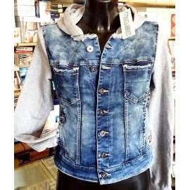 Giacchino jeans donna Baci & Abbracci con maniche e cappuccio cotone