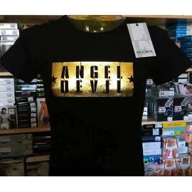 T-shirt uomo Angel Devil manica corta a girocollo con stampa ORO