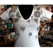 T-shirt donna Angel Devil scollo V con stampa e logo in strass