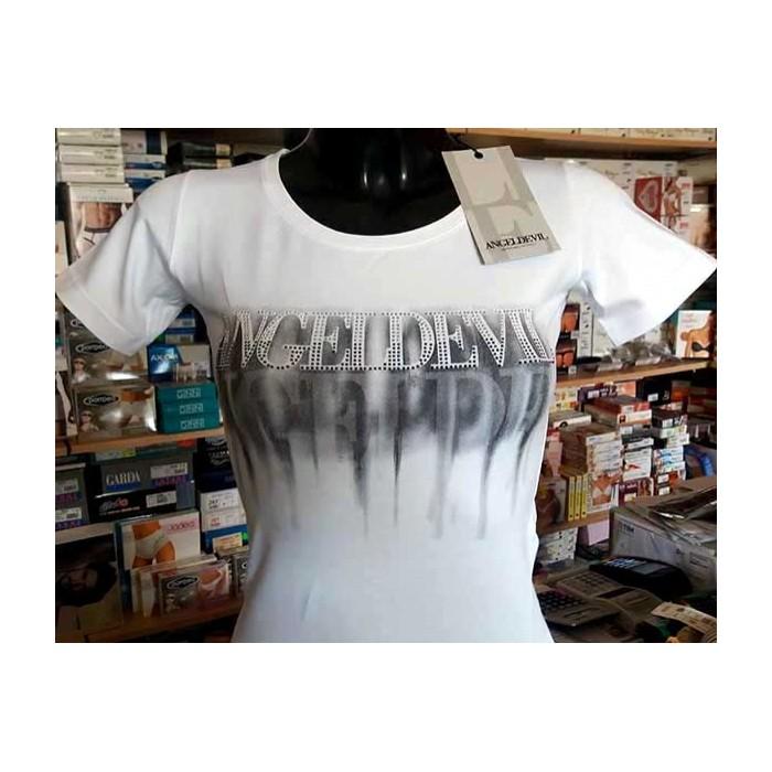 T-shirt donna Angel Devil manica corta a girocollo con stampa logo e strass