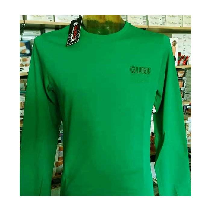 T-shirt uomo Guru manica lunga a girocollo in cotone con logo ricamato e polsini