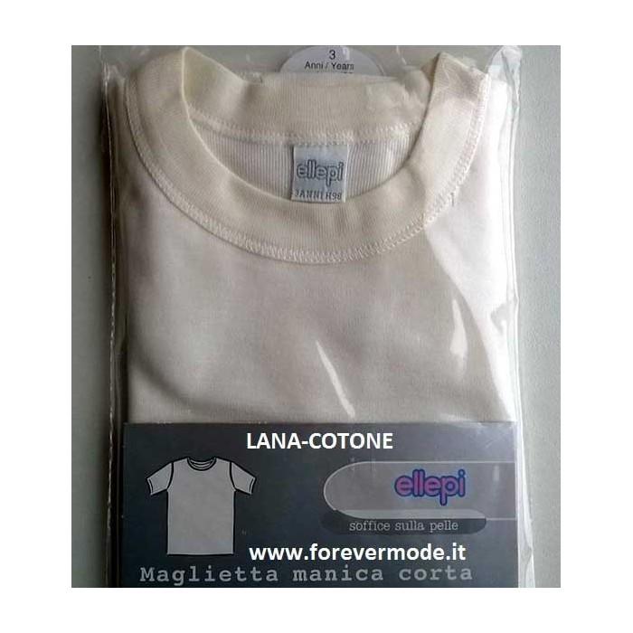 Maglia bambino Ellepi manica corta a girocollo in lana e cotone