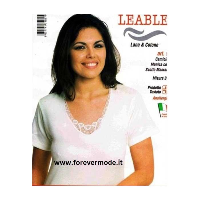 3 Maglie donna Leable manica corta in lana e cotone con profilo pizzo