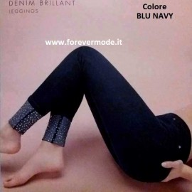 Leggings donna Matignon jeans in cotone con tasche sul retro e strass in fondo