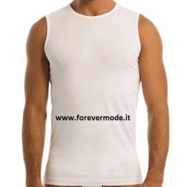 3 T-Shirt uomo Garda smanicate in puro cotone, collo basso