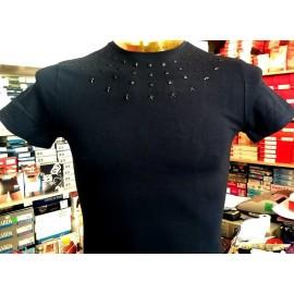 T-shirt uomo Angel Devil con girocollo borchiato, stampa logo dietro