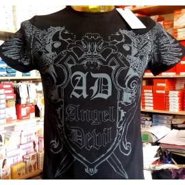 T-shirt maglia uomo Angel Devil manica corta a girocollo in cotone con stampa logo