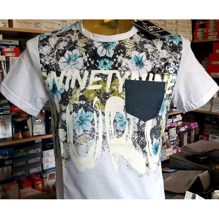 T-shirt uomo Guru manica corta a girocollo in cotone con stampa floreale e logo