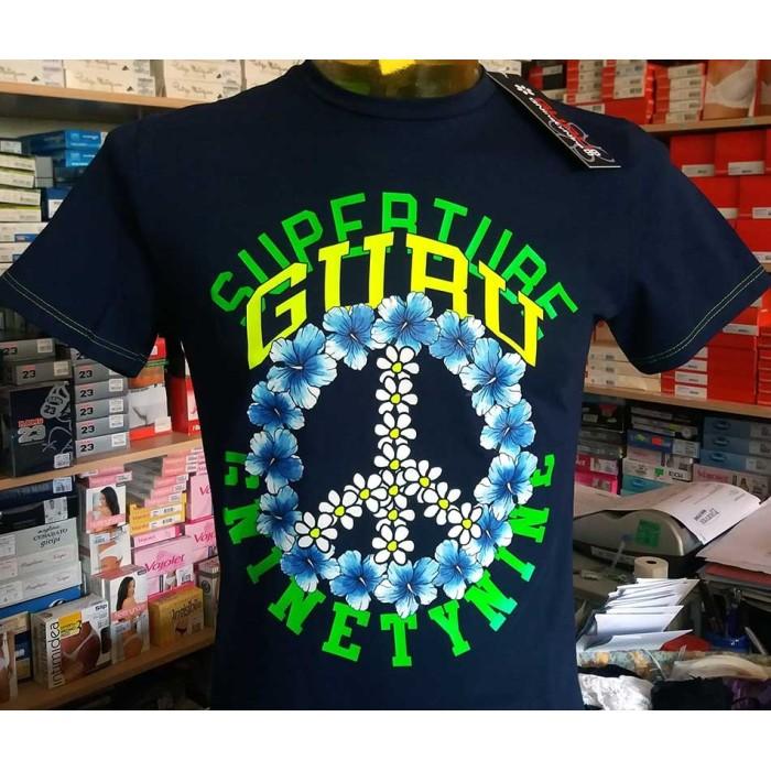T-shirt maglia uomo Guru manica corta a girocollo con stampa logo art G992159