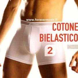 2 Boxer da uomo Cotonella in cotone elasticizzato con elastico esterno loggato