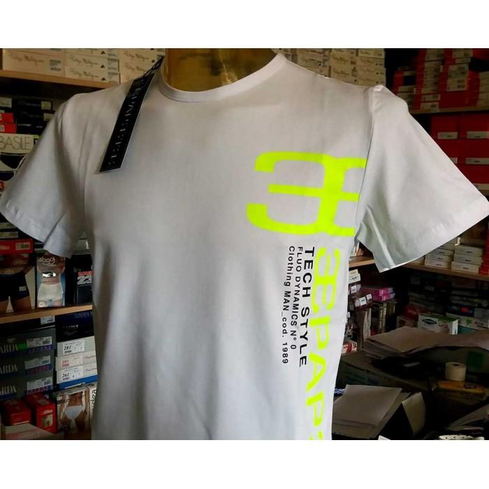 T-shirt uomo Papeete manica corta a girocollo con stampa logo laterale fluo