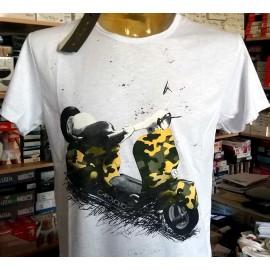 T-shirt uomo Capovolto manica corta a girocollo in cotone fiammato con stampa vespa