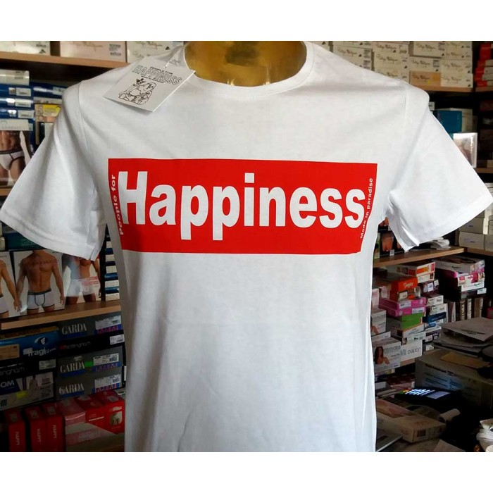 T-shirt uomo Happiness in cotone con stampa logo frontale