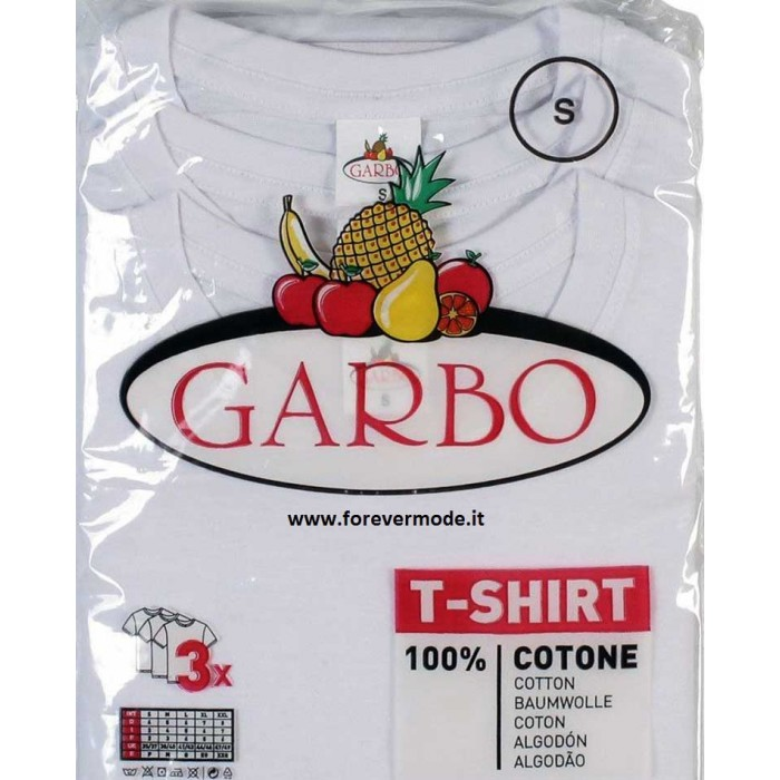 3 T-shirt maglie uomo Garbo manica corta girocollo in cotone