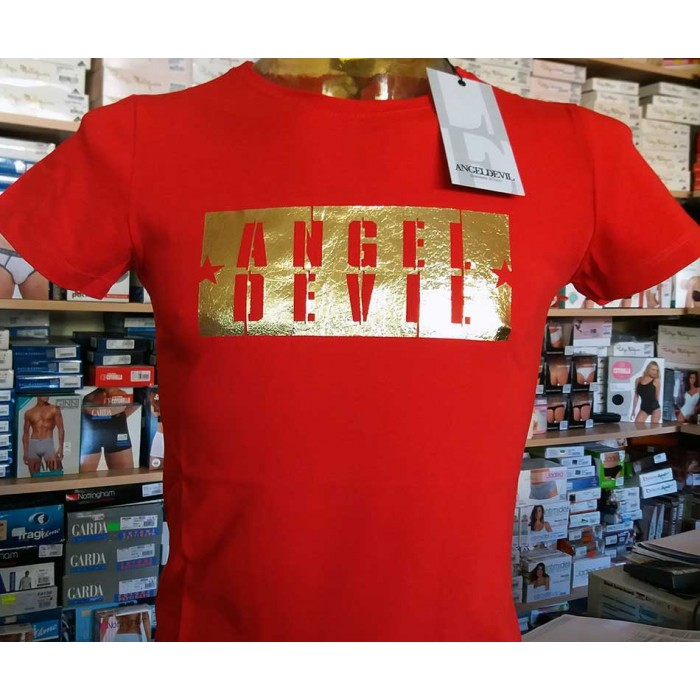 T-shirt uomo Angel Devil manica corta girocollo con stampa ORO
