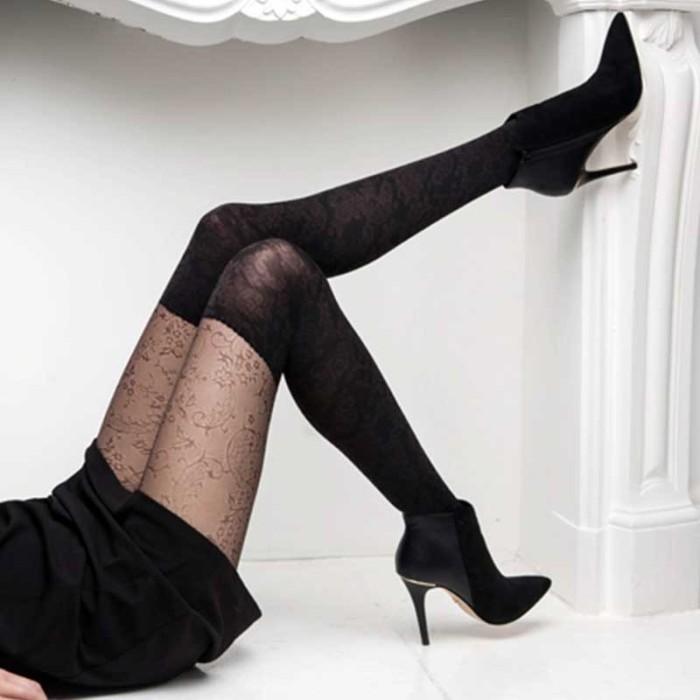 seleziona per genuino design di qualità alta qualità Collant donna Matignon con finta parigina coprente e pizzo floreale