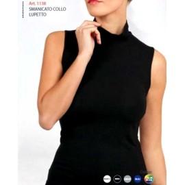 Maglia donna Egi esternabile smanicata con collo a lupetto in cotone modal