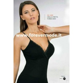 Canottiera donna Egi a spalla stretta in filoscozia con forma del seno e profilo in pizzo
