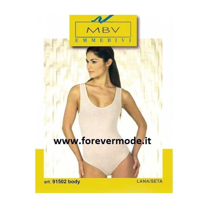 Body donna MBV con scollo ampio a spalla larga in lana e seta con profili raso