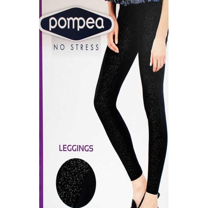 Leggings donna Pompea con velluto lamè davanti e tessuto nero dietro