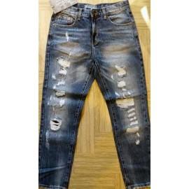 Jeans uomo Baci & Abbracci moda con rotture foderate e sbiaditure