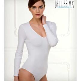 Body donna Bellissima manica lunga in microfibra con scollatura ampia