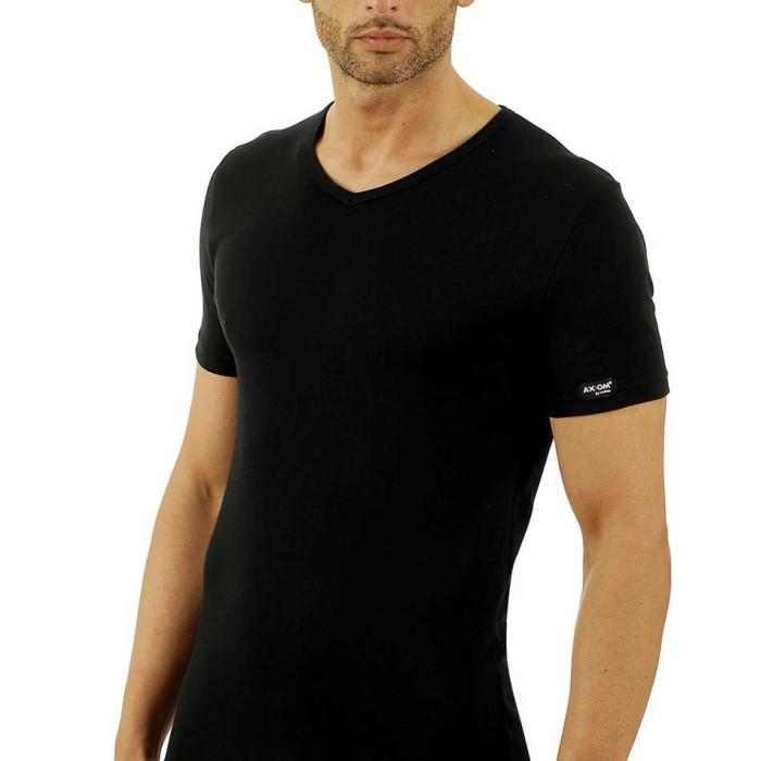3 T-shirt uomo Axiom manica corta con scollo a V in cotone elasticizzato con logo